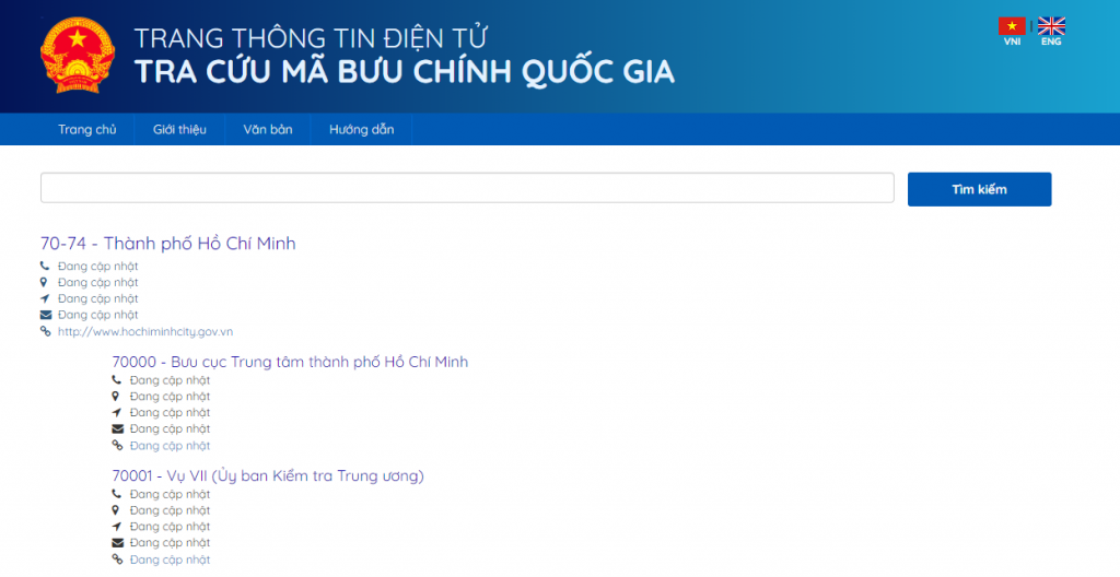 Trang tra cứu thông tin mã Zip code Việt Nam
